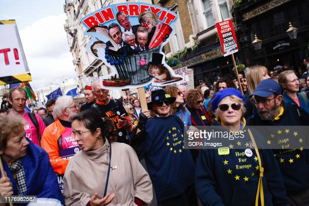 Demonstrators march at Whitehall during the protest A mass 'Together for the Final Say' march organised by the 'People's Vote' campaign for a second...