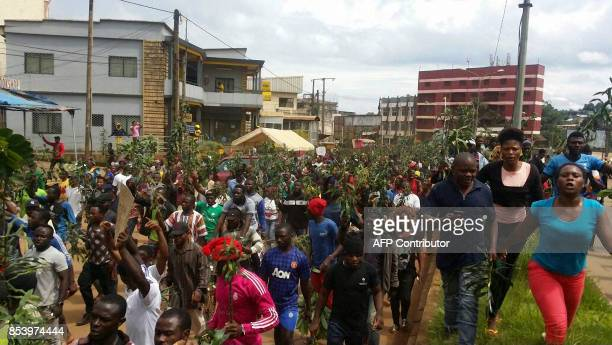 Demonstrators march during a protest against perceived discrimination in favour of the country's francophone majority on September 22 2017 in Bamenda...