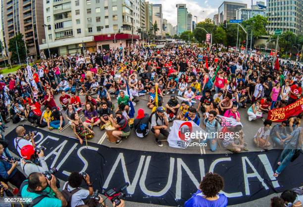 Demonstrators march during a protest against the fare hike on public transportation in Sao Paulo, Brazil, Wednesday, Jan. 17, 2018. The protest was...