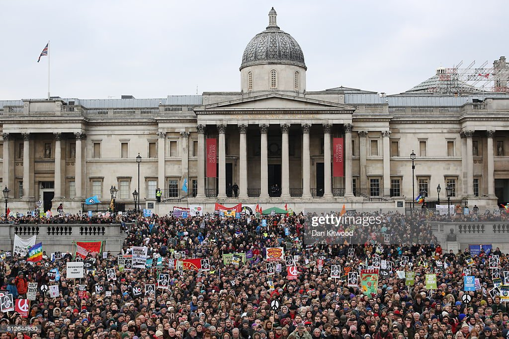 Demonstrators march during a 'Stop Trident' march in Trafalgar Square on February 27, 2016 in London, England. The leaders of three political parties will attend the march today. Labour leader Jeremy Corbyn, SNP leader Nicola Sturgeon and Plaid Cymru leader Leanne Wood are expected to speak to thousands of protesters in support of the Stop Trident campaign.