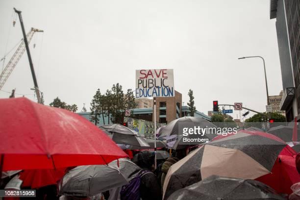 Demonstrators march during a teachers strike in Los Angeles, California, U.S., on Monday, Jan. 14, 2019. Tens of thousands ofteachersin Los Angeles...