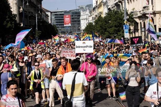 Demonstrators march during the annual Pride parade in Budapest, Hungary, on Saturday, July 24, 2021. Brussels isthreatening actionover an LGBTQ law...