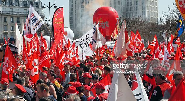 Demonstrators march from Place d'Italie to Esplanade des Invalides during the 'Solidaires Contre L'Austerite' demonstration on April 9 2015 in Paris...
