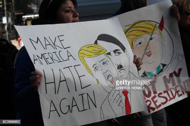 Demonstrators march in Chicago on November 12 to protest the election of US Presidentelect Donald Trump Americans spilled into the streets Saturday...