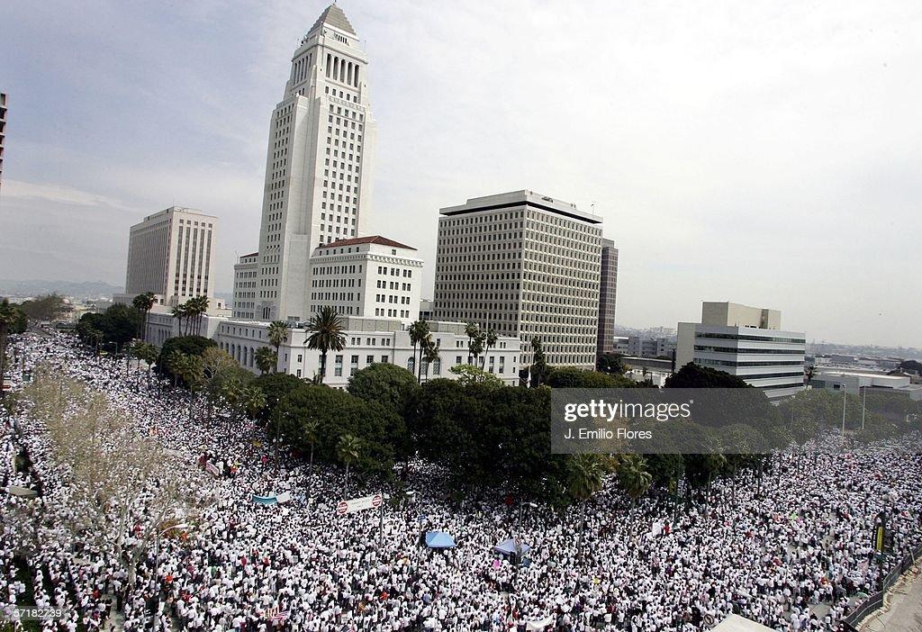 Demostrators March In LA Against Immigration Bills : News Photo