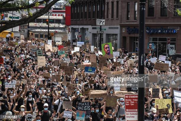 Demonstrators march in support of the Black Lives Matter Movement on June 6 2020 in the Brooklyn borough of New York City This is the 12th day of...