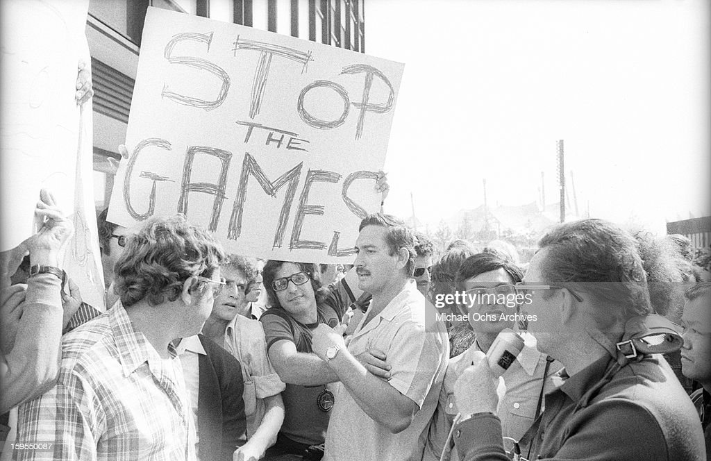 Demonstrators march in support of the Israili Olympic team and demand an end to the Games as 9 surviving members are being held hostage by members of the Black September Organization (a terrorist group afilliated with the Palestine Liberation Organization) on September 5, 1972 in Munich, West Germany.