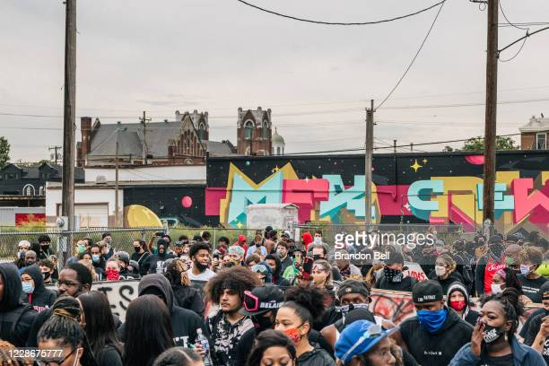 Demonstrators march in the street on September 23, 2020 in Louisville, Kentucky. Protesters marched after a Kentucky Grand Jury indicted one of the...