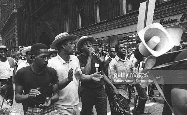 Demonstrators march near the intersection of North LaSalle and Washington streets during a protest calling for the firing of School Superindentant...