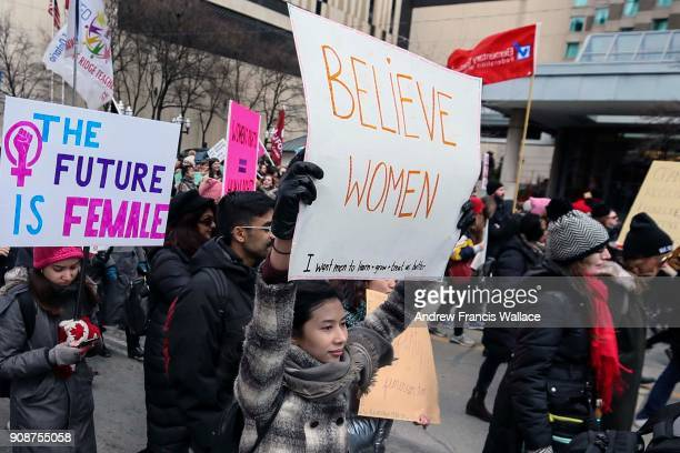 TORONTO ON JANUARY 20 Demonstrators march on Bay St during the Toronto Women's January 20 2018