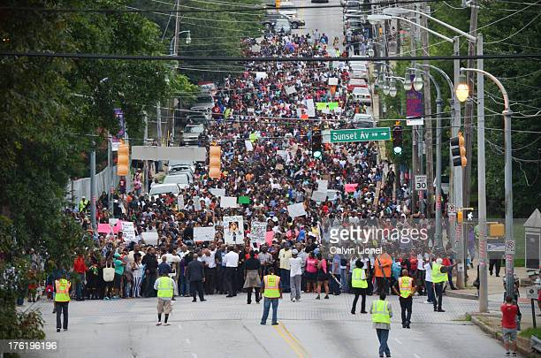 Demonstrators march on July 15th 2013 at the Respect Black Life march from the Atlanta University Center to the CNN Center in Atlanta, Georgia. This...