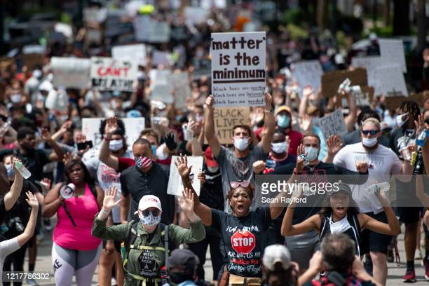 Demonstrators march on Main St. On June 5, 2020 in Columbia, South Carolina. Friday marked the seventh day of protests in the state capital, set off...