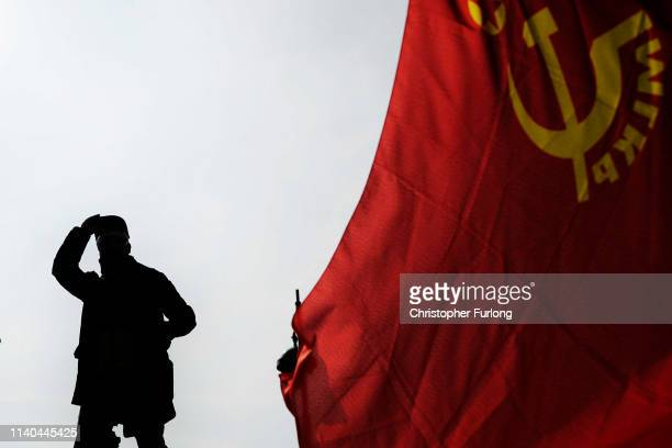 Demonstrators march though Paris as they take part in the annual May Day protests on May 01 2019 in Montparnasse Paris France More than 7400 police...