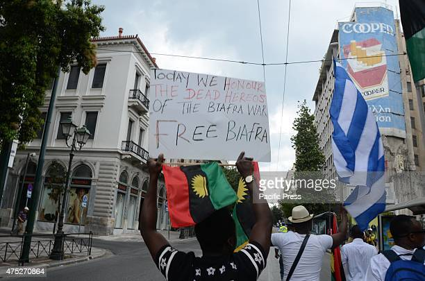 Demonstrators march through Athens A rally in the center of Athens organized from Biafrans that live in Greece to commemorate the victims of Biafra...
