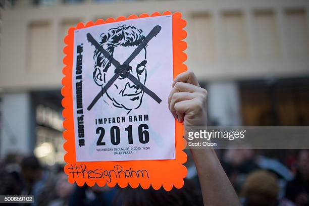 Demonstrators march through downtown on December 9 2015 in Chicago Illinois About 1000 protestors calling for the resignation of Chicago Mayor Rahm...