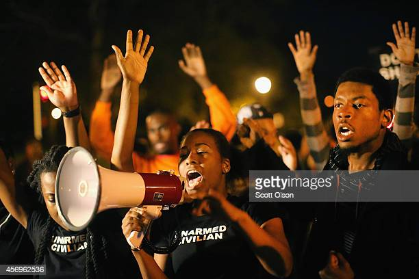 Demonstrators march through the streets protesting the October 8 killing of 18yearold Vonderrit Myers Jr by an off duty St Louis police officer on...