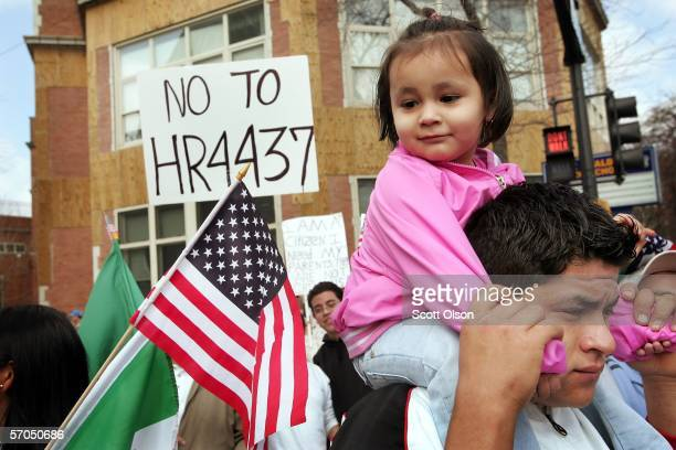 Demonstrators march through the streets to protest house bill HR4437 which calls for tougher border protection and immigration laws March 10 2006 in...