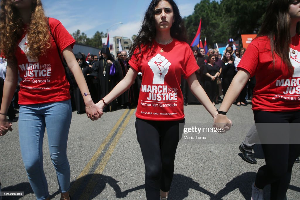 Thousands March In L.A. To Mark 103rd Anniversary Of Armenian Genocide : News Photo