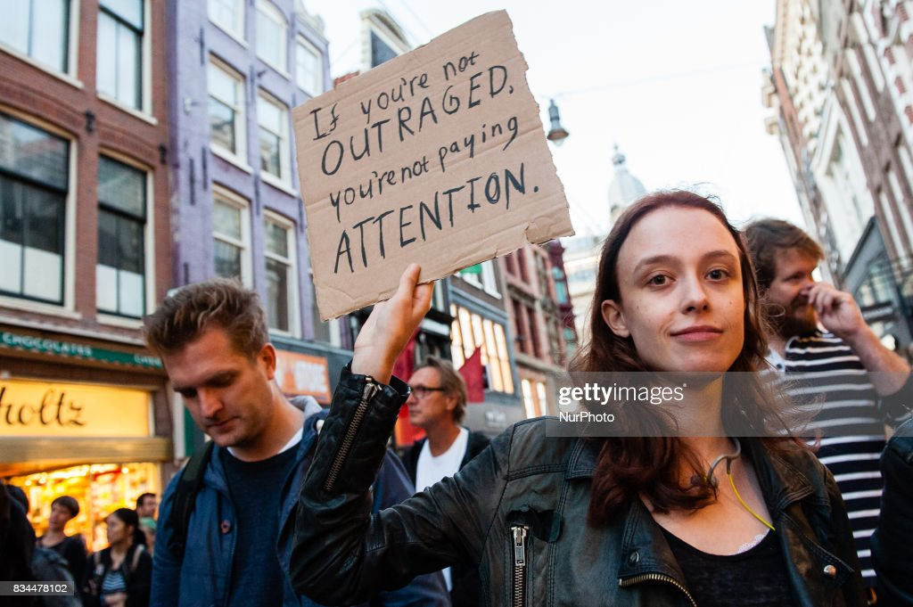 Protest in Amsterdam in solidarity with the anti-fascists in Charlottesville : News Photo