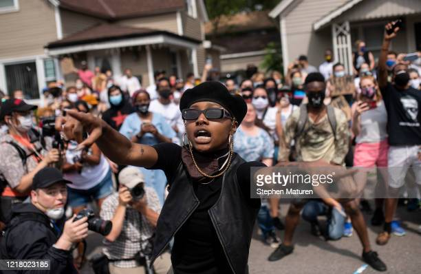 Demonstrators marching to defund the Minneapolis Police Department dance on University Avenue on June 6 2020 in Minneapolis Minnesota The march...