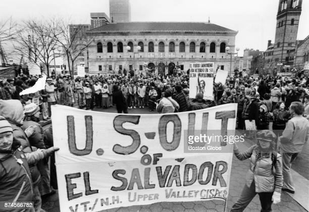 Demonstrators mass together as they listen to speeches at Copley Square before marching to the Boston Common in Boston March 21 1981