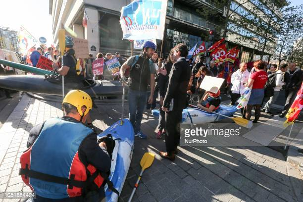 Demonstrators meet a French ministry of sports official as they gather in front of the offices of the Ministry in Paris on October 11 2018 against...