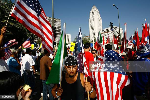 Demonstrators near City Hall from three separate immigrants' rights marches converge for a massive May Day rally May 1 2008 in Los Angeles California...