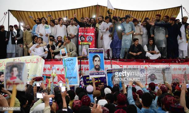 Demonstrators of Pashtun Protection Movement gather at a public rally in Peshawar on April 8 2018 In a rare public challenge to Pakistan's powerful...