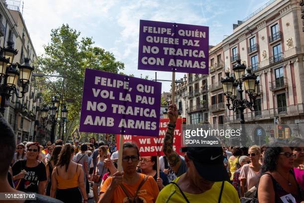 Demonstrators of the Catalan proindependence left opposing the visit of King Felipe VI are seen on the Ramblas in Barcelona Barcelona celebrated the...