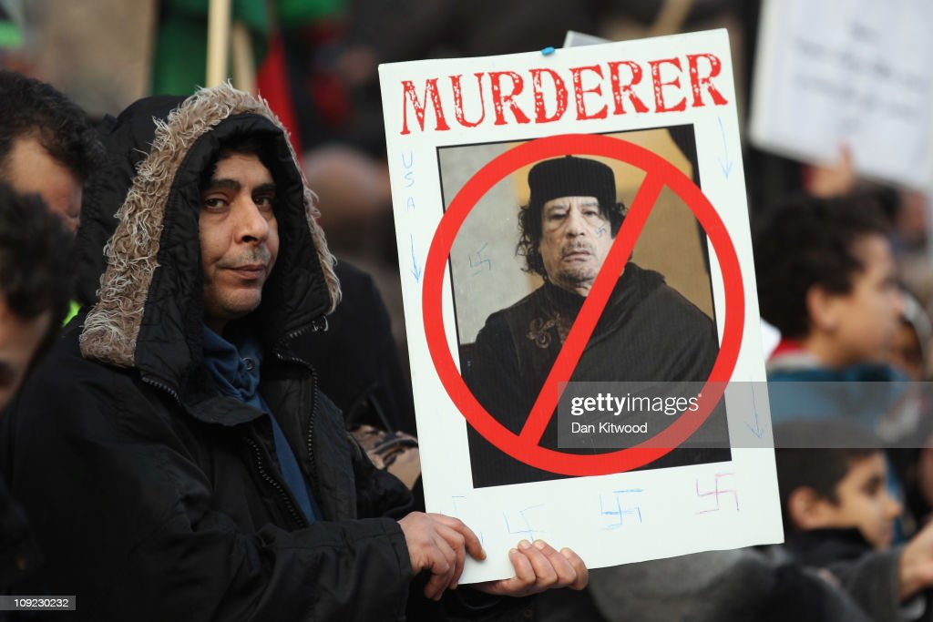 Image result for anti-gaddafi demonstrators in streets