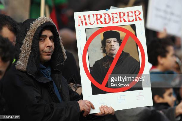Demonstrators opposed to the regime of Libyan leader Col Muammar Gaddafi gather in Hyde Park on February 17 2011 in London England Libya has faced a...