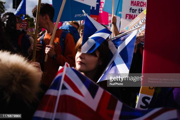 Demonstrators pack Piccadilly during the mass 'Together for the Final Say' march organised by the 'People's Vote' campaign for a second Brexit...