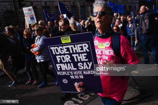 Demonstrators pack Whitehall during the mass 'Together for the Final Say' march organised by the 'People's Vote' campaign for a second Brexit...