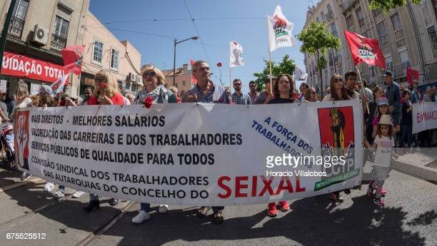 Demonstrators parade during May Day march on May 01 2017 in Lisbon Portugal Thousands paraded in the city to celebrate International Workers' Day...