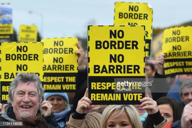 Demonstrators participate in a Border Communities Against Brexit protest as part of their ongoing campaign against the return of a border to the...