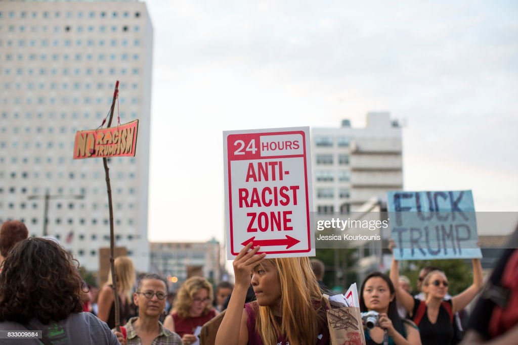 Demonstrators participate in a march and rally against white supremacy August 16, 2017 in downtown Philadelphia, Pennsylvania. Demonstrations are being held following clashes between white supremacists and counter-protestors in Charlottesville, Virginia over the weekend. Heather Heyer, 32, was killed in Charlottesville when a car allegedly driven by James Alex Fields Jr. barreled into a crowd of counter-protesters following violence at the Unite the Right rally.