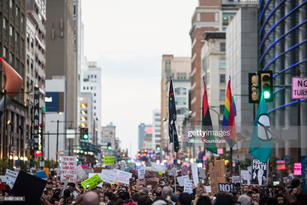 Demonstrators participate in a march and rally against white supremacy August 16, 2017 in downtown Philadelphia, Pennsylvania. Demonstrations are being held around the world following clashes between white supremacists and counter-protestors in Charlottesville, Virginia over the weekend. Heather Heyer, 32, was killed in Charlottesville when a car allegedly driven by James Alex Fields Jr. barreled into a crowd of counter-protesters following violence at the Unite the Right rally.