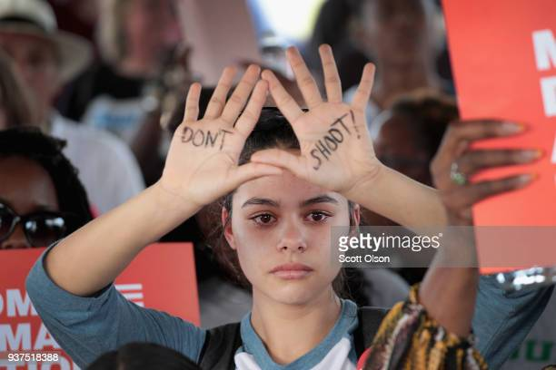 Demonstrators participate in a March for Our Lives rally and march on March 24 2018 in Killeen Texas More than 800 March for Our Lives events...