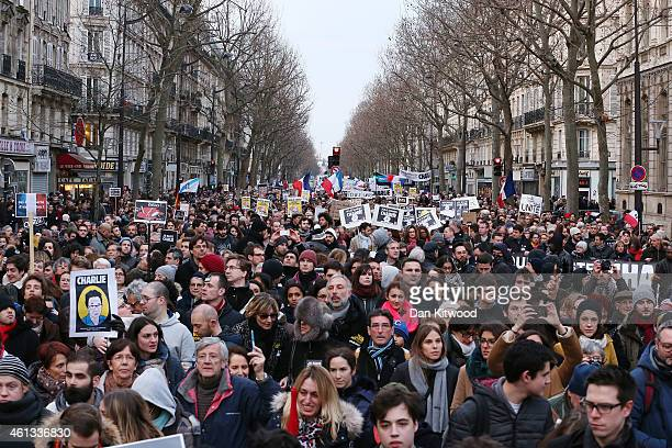 Demonstrators participate in a mass unity rally following the recent Paris terrorist attacks on January 11 2015 in Paris France An estimated one...