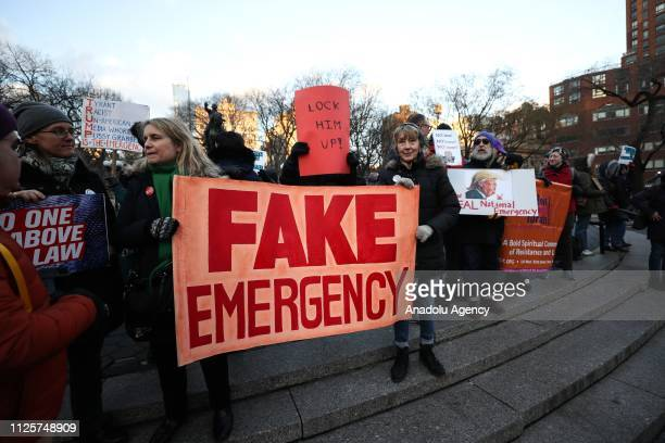 Demonstrators participate in a President's Day protest against US President Trump and his immigration policy at Union Square in New York United...