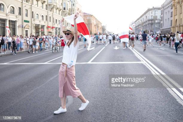 Demonstrators participate in an antiLukashenko rally on August 16 2020 in Minsk Belarus There have been daily demonstrations in the Belarusian...
