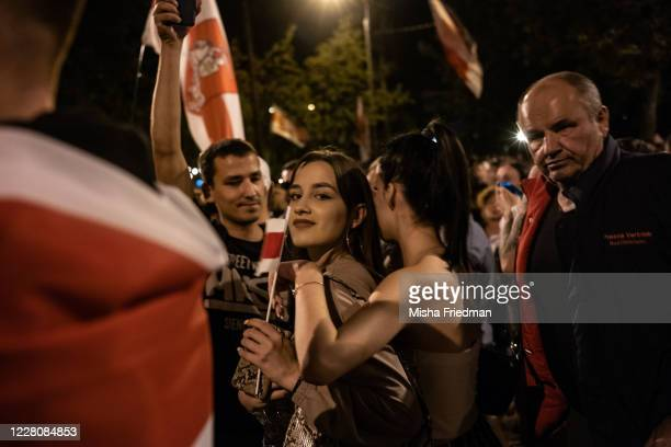Demonstrators participate in an antiLukashenko rally on August 17 2020 in Minsk Belarus There have been near daily demonstrations in Belarus since...