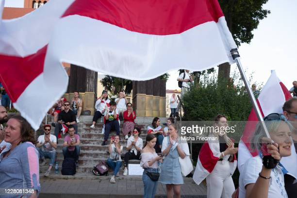 Demonstrators participate in an anti-Lukashenko rally on on August 17, 2020 in Minsk, Belarus. There have been near daily demonstrations in Belarus...
