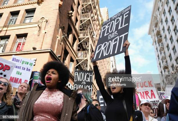 Demonstrators participate in the March for Our Lives Los Angeles rally on March 24 2018 in Los Angeles California More than 800 March for Our Lives...