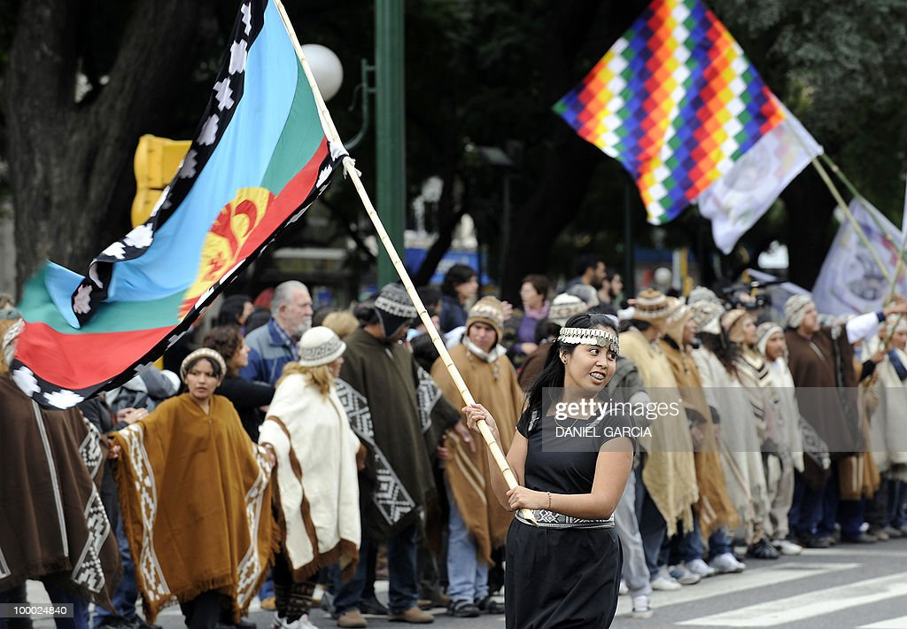 Demonstrators participate in the National Indigenous March that arrived in the Plaza de Mayo in Buenos Aires after traveling some 2,000 km across the country, as part of the commemorations for the bicentennial of the Independence and to claim for a multicultural state that respects the rights of native peoples.