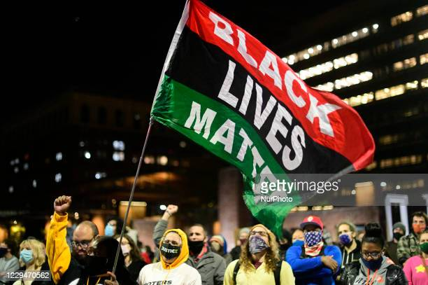 Demonstrators participates in a combined protest march as two separate groups of demonstrators take to the streets in unison, in Philadelphia, PA,...