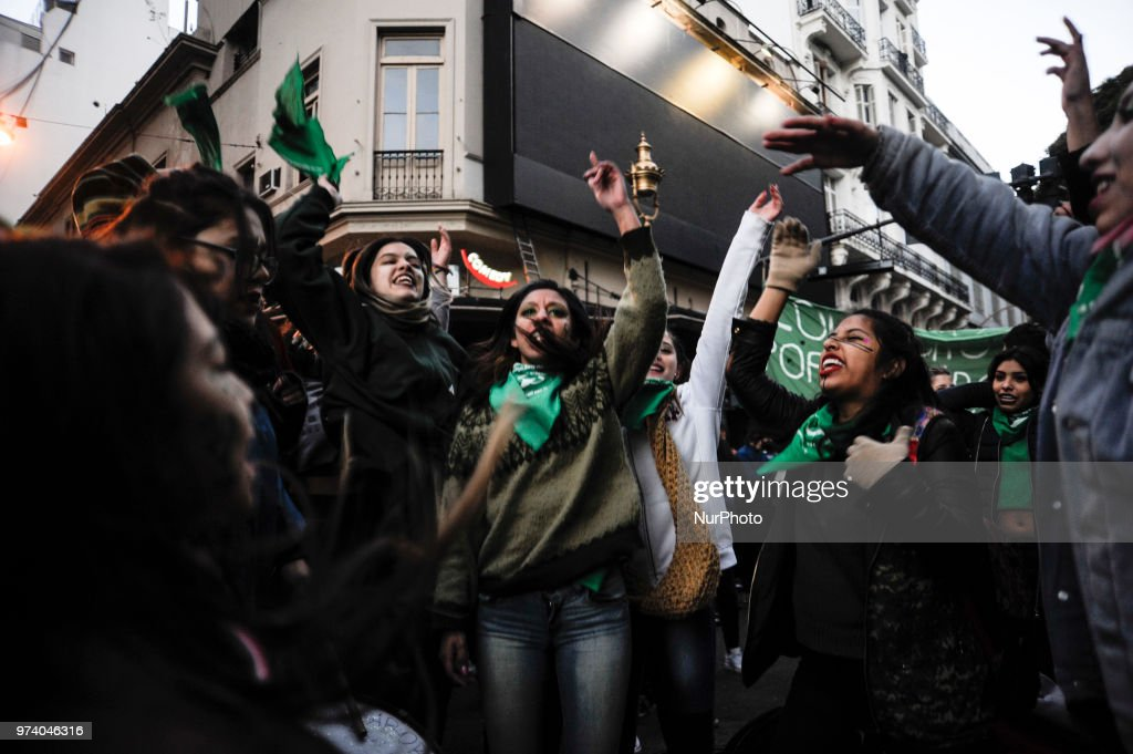 Demonstrators participates in a concentration to support an abortion legalization law, near Argentina's congress in Buenos Aires, Wednesday, June 13, 2018.