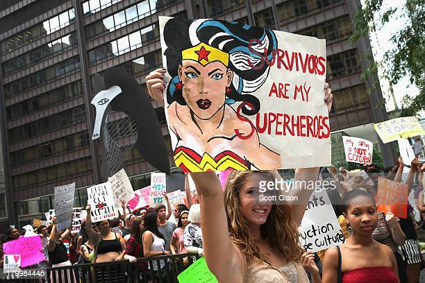 Demonstrators participating in Slutwalk march through downtown on September 7 2013 in Chicago Illinois Slutwalk which was started in Toronto in 2011...