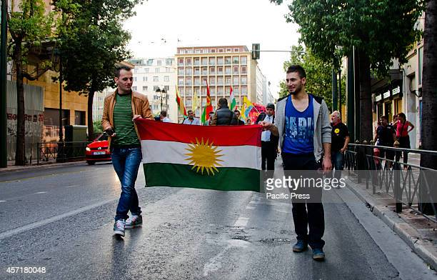 Demonstrators pass through the streets of Athens on their way to the Greek parliament Kurdish people that live in Athens organised a demonstration in...