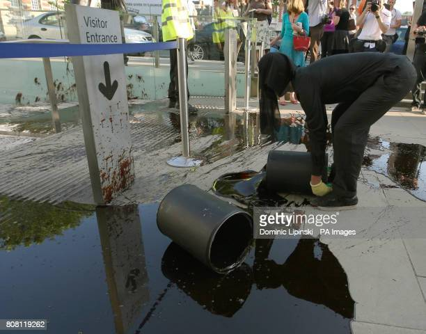 Demonstrators pour oil and feathers outside the entrance to the Tate Britain, in Pimlico, central London, which is hosting the Tate Britain summer...